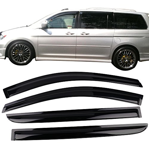 Window Visor Fits 2005-2007 Honda Odyssey | Acrylic Black Slim Style Sun Rain Guards Cover By IKON MOTORSPORTS | 2006 ()