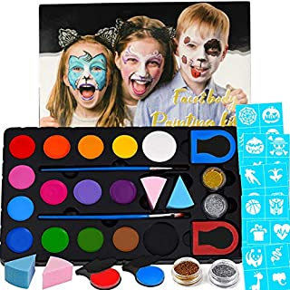 Halloween Face Paint Kit for Kids & Adults with 60 Stencils, 15 Water Based Paints, 2 Glitters-Halloween Makeup Kit, Professional Face Paint Palette, Washable & Non-Toxic Face Painting Kit for Parties
