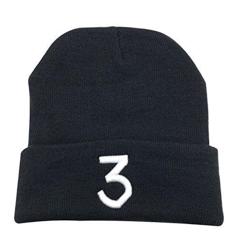 CZZYTPKK Chance 3 Wang Warm Winter Hat Knit Beanie Skull Cap Embroidered Soft Headwear Black