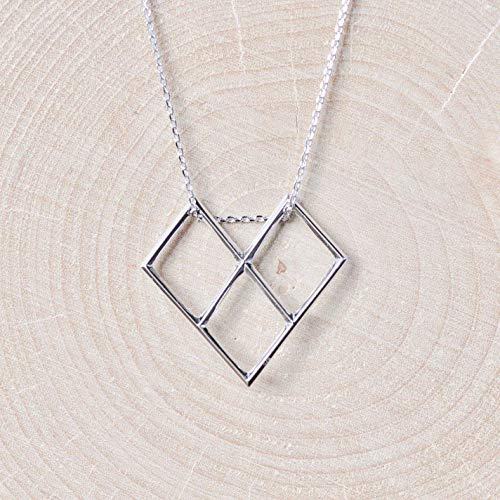 - Geometric Heart Necklace Sterling Silver 925
