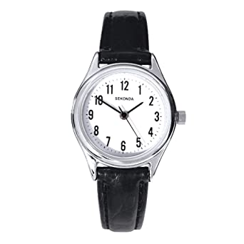 983bc763c1d9 Sekonda Women's Quartz Watch with White Dial Analogue Display and Black  Leather Strap 4491.27: Amazon.co.uk: Watches
