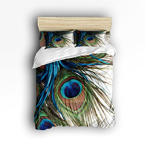 Libaoge 4 Piece Bed Sheets Set, Peacock Feather Print, 1 Flat Sheet 1 Duvet Cover and 2 Pillow Cases (Peacock Set Bed)