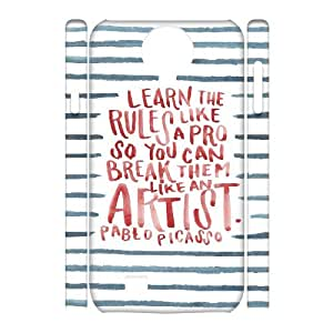 3D Samsung Galaxy S4 Cases Learn the Rules Like a Pro so You Can Break Them Like an Artist, Typography Cases Zachcolo, {White}