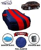 Fabtec Car Body Cover for Honda Amaze 2018 Red & Blue with Mirror Antenna Pocket, Storage Bag & Microfiber Glove Combo