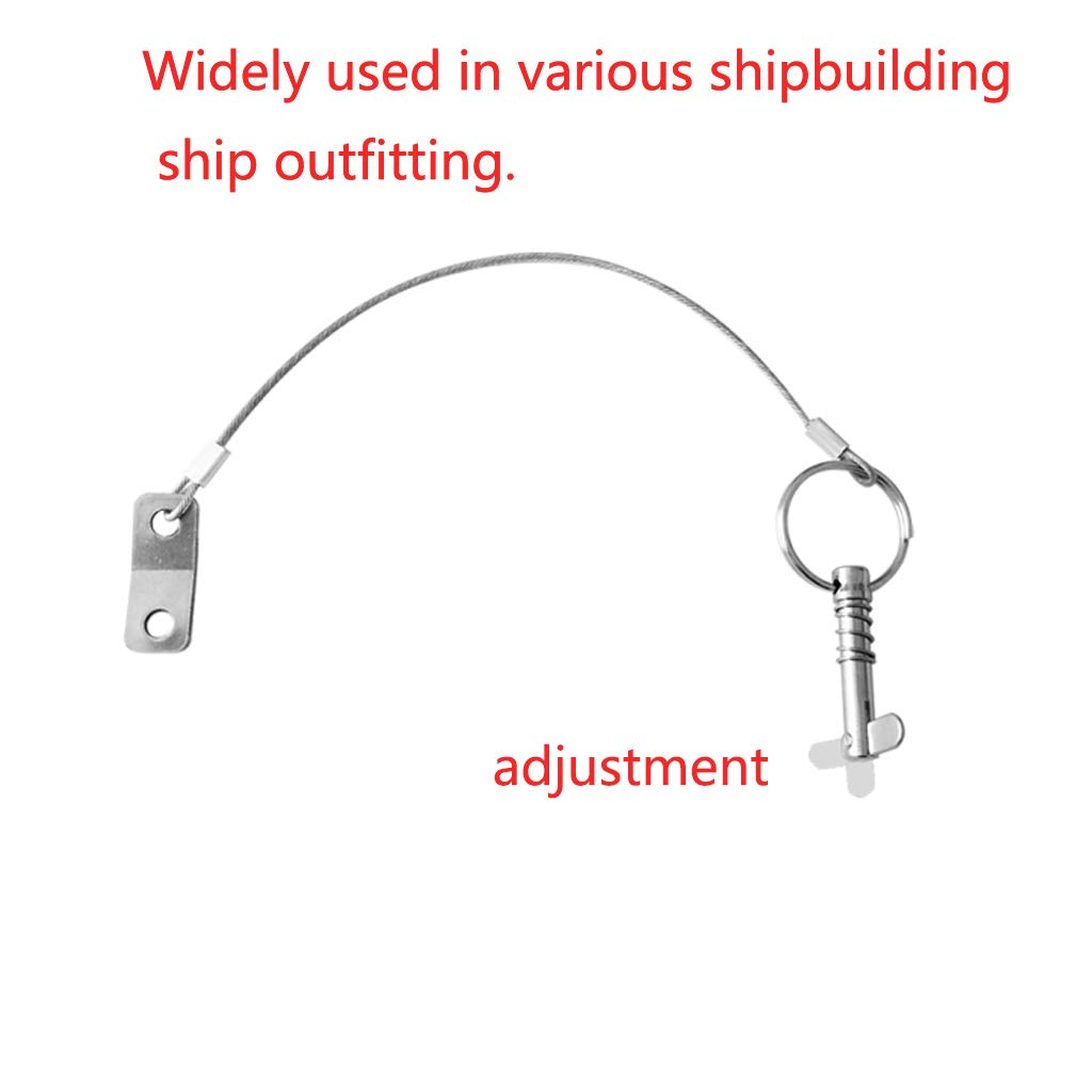 GANGUOLA Bimini Top Pins Quick Release Pin 1/4'' with Lanyard for Boat Bimini Top Deck Hinge Or Jaw Slide Clamp Bracket Marine Hardware(4 Pack) by GANGUOLA (Image #5)