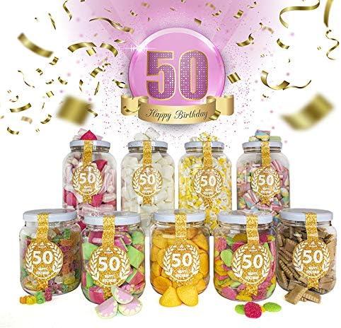 Wonkandy Happy Birthday, Chuches para cumpleaños - Decoración cumpleaños 50, Surtido de dulces para Candy Bar color Rosa: Amazon.es: Alimentación y bebidas