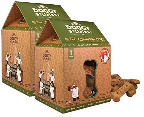Wet Noses Doggy Delirious All Natural Dog Treats, Made in USA, 100% USDA Certified Organic, Non-GMO Project Verified, 14 Oz Box, Apple Cinnamon Flavor, 2-Pack