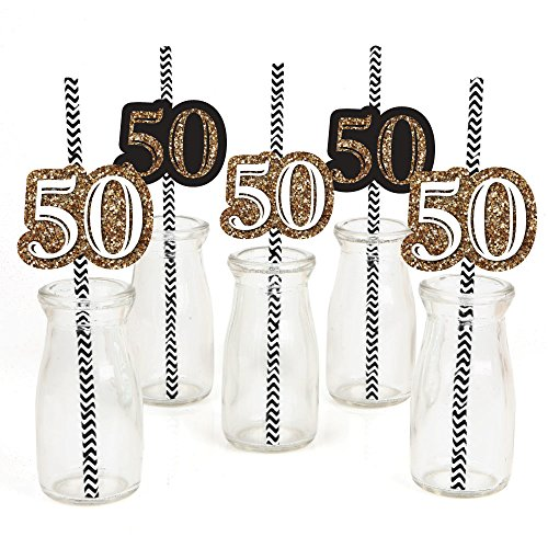 Big Dot of Happiness Adult 50th Birthday - Gold - Paper Straw Decor - Birthday Party Striped Decorative Straws - Set of (50th Birthday Party Favors)