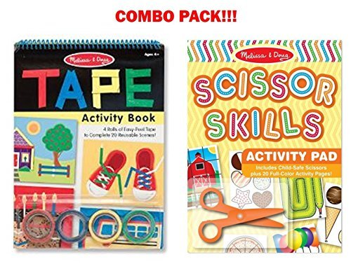 Melissa and Doug Activity Bundle - Scissor Skills Activity Pad with Tape Activity Book - Ages 3 and Up Doug Scissors Set
