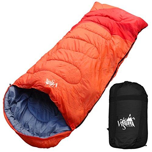 丸洗いのできる寝袋 ワイドサイズ 封筒型 最低使用温度 -5℃ コンパクト収納袋付き シュラフ 寝袋 オールシーズン (オレンジ)の商品画像
