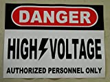 HALLOWEEN PROP SIGN -DANGER HIGH VOLTAGE STICKER/DECAL - 9 x 11