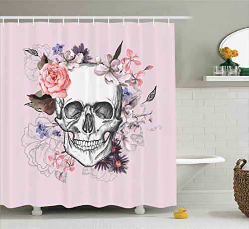 Skull Shower Curtain by Ambesonne, Skull and Blooms Ceremony Celebrating Art Design Vintage Print, Fabric Bathroom Decor Set with Hooks, 70 Inches, Baby Pink Black White Salmon