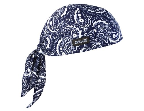(Ergodyne Chill-Its 6615 Absorptive Moisture-Wicking Dew Rag, Navy Western)