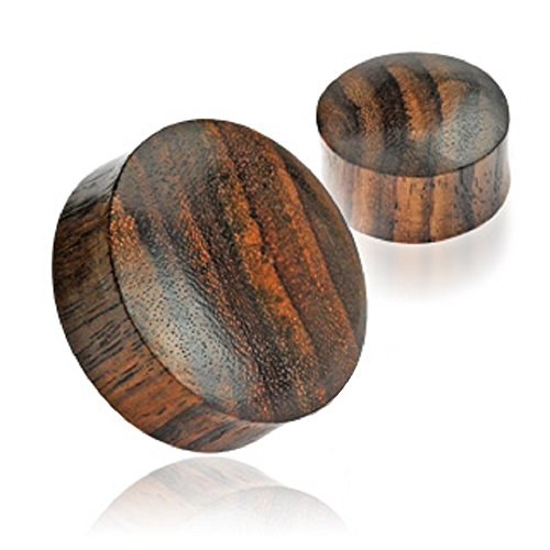 Sono Wood Saddle Fit Sold Organic Ear Plugs Gauges - Sold As Pair - 22 Sizes Available Up to 2
