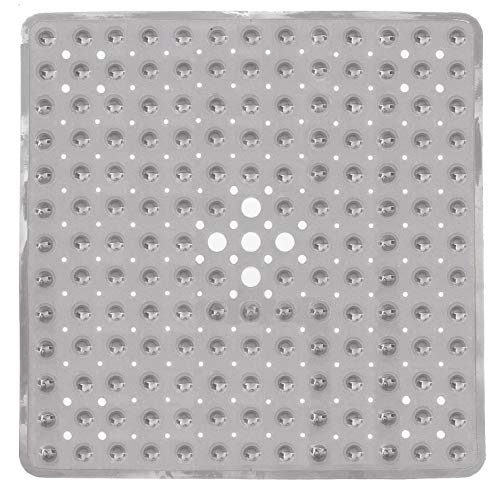 SUDAGEN Square Shower Mat Non Slip Bath Mat with Drain Hole Machine Washable for Shower Stalls 21 x 21 Inch (Glay) ...