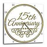 3dRose dpp_154457_2 15th Anniversary Gold Text for Celebrating Wedding Anniversaries 15 Years Married Together Wall Clock, 13 by 13-Inch Review