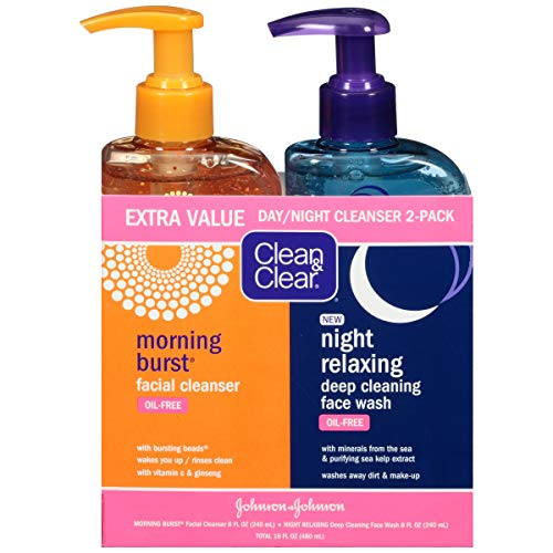 Clean & Clear 2-Pack Day and Night Face Cleanser Citrus Morning Burst Facial Cleanser with Vitamin C and Cucumber, Relaxing Night Facial Cleanser with Sea Minerals, Oil Free & Hypoallergenic Face Wash (Cleansing Cream Facial)