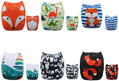 ALVABABY New Positioning and Printed Design Reuseable Washable Pocket Cloth Diaper 6 Nappies + 12 Inserts