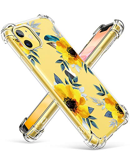 GVIEWIN iPhone 11 Case, Clear Flower Design Soft & Flexible TPU Ultra-Thin Shockproof Transparent Bumper Protective Floral Cover Case for iPhone 11 6.1 Inch 2019 (Sunflowers/Yellow)