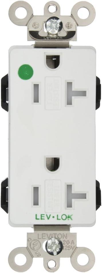 Leviton MT163-HGW Lev-Lok Modular Wiring Device 20-Amp, 125 Volt, Decora Plus Duplex Receptacle, Tamper-Resistant, Straight Blade, Hospital Grade, Self Grounding, White