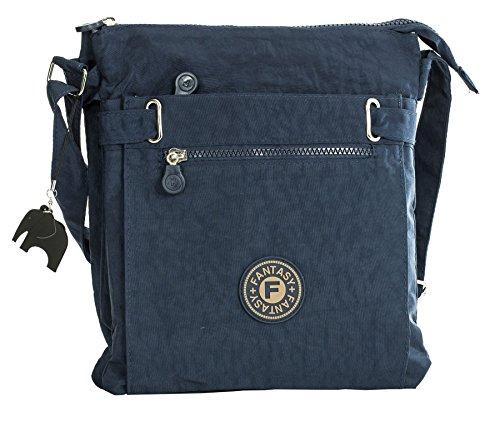 Navy Handbag Zip Big Elephant Compartment Lightweight With Bag Shop Messenger Charm Crossbody Fabric Shoulder Multi 6dqAdaSx