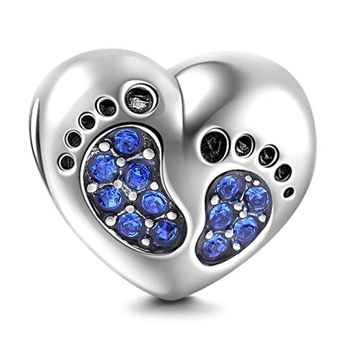 Bracelet Baby Footprints Charms - 925 Sterling Silver Pendant, Heart Birthstone plated Crystals - Mini Beads Fit Charm Bracelets, Necklaces, and European Snake Chains, Gift to New Mom and Child.(Blue)