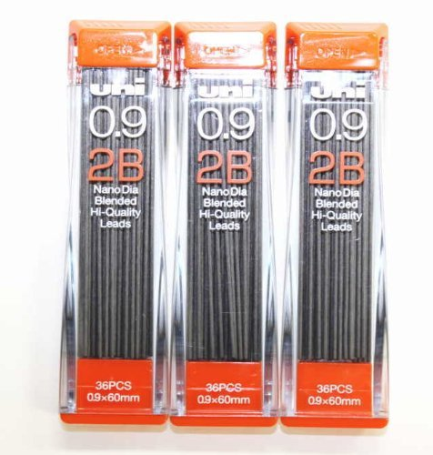 Strength & Deep & Smooth -Uni-ball Extra Fine Diamond Infused Pencil Leads, 0.9mm-2B-[Nano Dia]36Leads x 3 Pack/Total 108 Leads