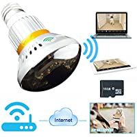 WISEUP 16GB Indoor Wifi Network Hidden Camera LED Bulb Motion Detection Security DVR Support Android iPhone APP Remote View Real Light Emitting