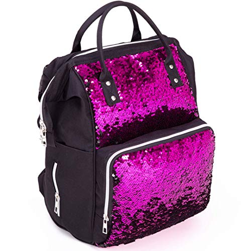 Modern Design Special Fabric Diaper Bag Backpack Pink Color, Multifunctional Travel Back Pack, Waterproof, Insulated Pockets Stroller Straps (BLACK/FUCHSIA)