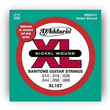 DAddario XL157 XL Nickel Wound Baritone - Cuerdas para guitarra eléctrica (.014