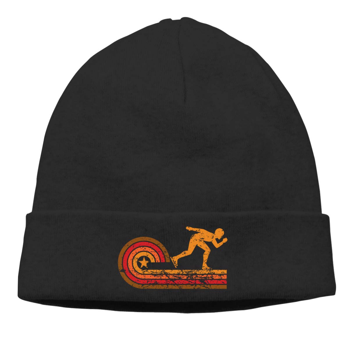 Riokk az Retro Style Speed Skating Skull Hat Beanie Cap for Mens Black