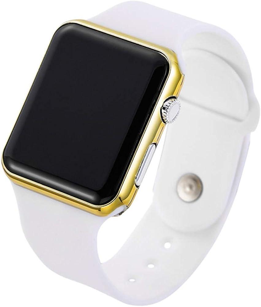 RRWL Reloj LED Deportivo y de Ocio para Mujer Reloj Digital Unisex Reloj de Pulsera de Silicona para Parejas Regalosnavideños Oro Blanco