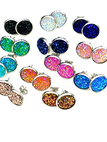 - 12pairs Druzy Drusy Stud Earrings 12 Colors faux Rock Crystal Stone (mixed colors)