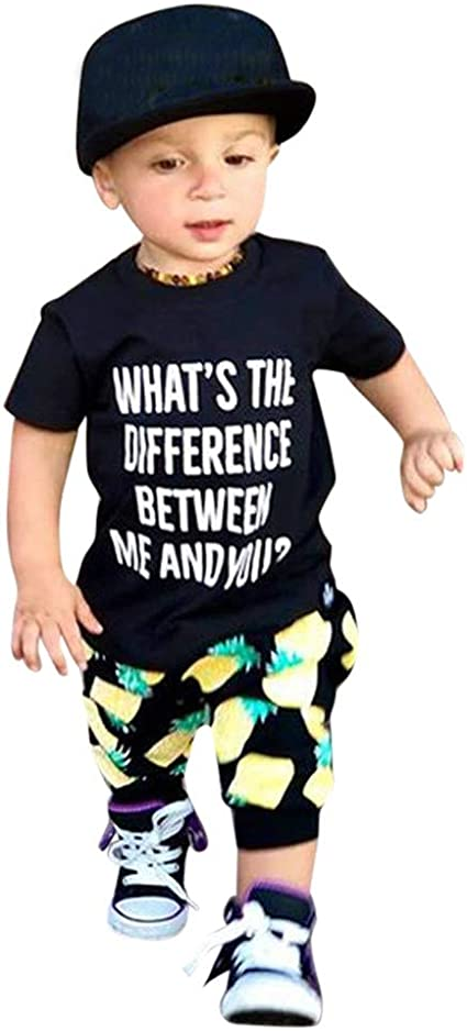 Toddler Baby Boys Short Sleeve Letter Print Tops T-Shirt Striped Shorts Pants Summer Clothes Outfits 2Pcs Set