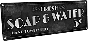 "Homebody Accents Fresh Soap & Water Metal Sign, 4""x12"", Vintage, Retro, Art Deco, Bath, Bathroom, Laundry"