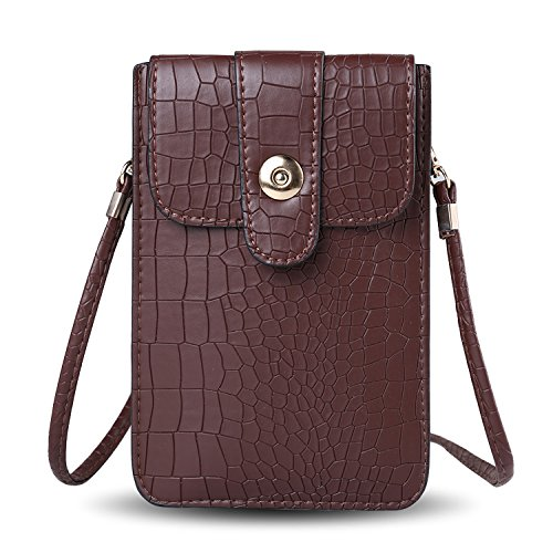 Slim Mocha Brown Croc Textured Verticle Cross Body Cell Phone Shoulder Pouch Bag Suitable for Cell Phones Up to 6.4inches