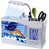 Flexzion USB Desktop Aquarium Mini Fish Tank with Running Water LCD Time Clock Alarm Colorful LED Lamp Light Calendar Holds 1.5 Quart for Home Office Decor
