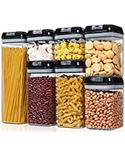 7Pcs Kitchen Food Storage Pantry Organization Containers with Airtight Lids Set