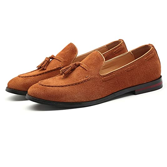 NXY De los Hombres Ante Cuero Borla Mocasines Inteligente Casual Formal Zapatos de Conducir Plano Ponerse Zapatos: Amazon.es: Zapatos y complementos