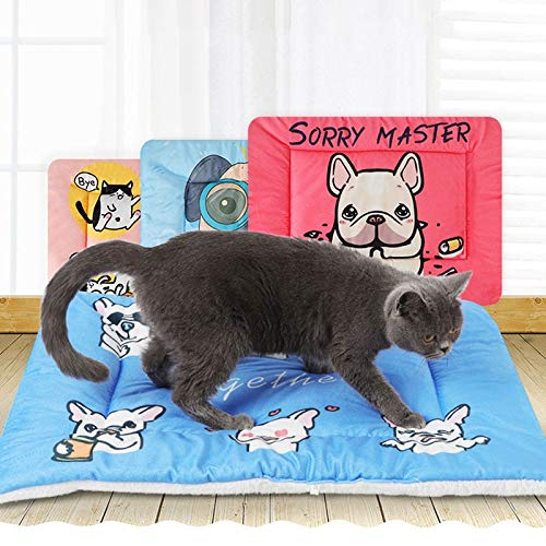 Flyingpets Dog Bed Liner - Dog Bed Liners - Dog Bed Liners Waterproof - Pet Dog Cat Warming Bed Mat Comfortable Fleece Mat Winter Sleeping and Crate Mat for Cats Cartoon Reversible Pet Bed Liner.