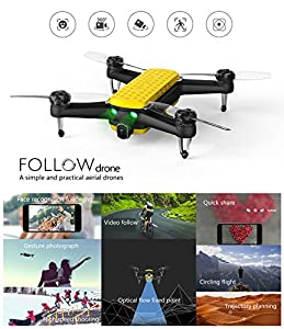 Geniusidea Follow Drone-Portable Quadcopter Drone with 4K HD Video Camera and GPS Positioning System Remote Controlled by iOS or Android G-IDEA APP by Geniusidea