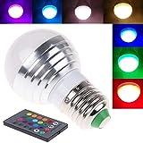 Flood Lighting 3w E27 16 Colors RGB Spot Lighting LED Bulb Lamp Light with Ir Remote Control #2pcs