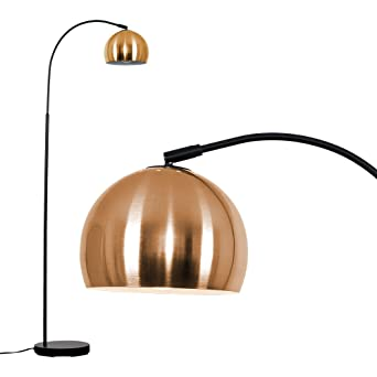brand new 6d37c 2e8af Modern Designer Style Black Curved Stem Floor Lamp with a Brushed Copper  Arco Style Metal Dome Light Shade