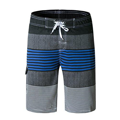 ZIITOP Men's Swim Trunks Quick Dry Water Beach Board Shorts Striped Sportwear Blue XXL by ZIITOP