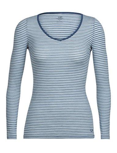 Icebreaker Merino Women's Siren Long Sleeve Sweetheart Underwear, Stripe/Waterfall/Snow, Large