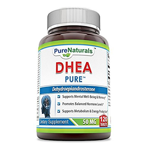 Pure NaturalsDHEA Dietary Supplement 50 Mg 120 Tablets- *Supports Mental Well-Being & Memory* Promotes Balanced Hormone Levels* Supports Metabolism & Energy Production*
