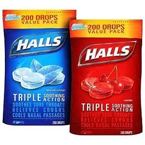 Halls Cough Suppressant/Oral Anesthetic Menthol Drops (200 ct.) by Halls Cough