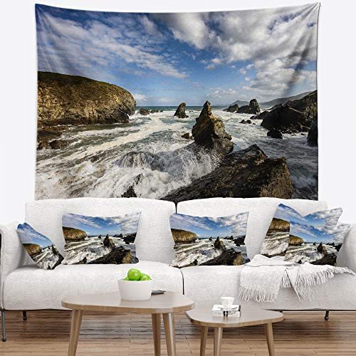 Designart TAP9419-39-32 'Blue Atlantic Coast in Spain' Seashore Photo Tapestry Blanket Décor Wall Art for Home and Office, Medium: 39'' x 32'', Created on Lightweight Polyester Fabric by Designart