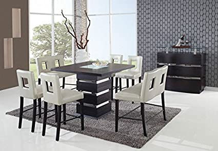 Global Furniture Modern DG072BT + Chairs/Benches Wenge U0026 Beige Dining Set