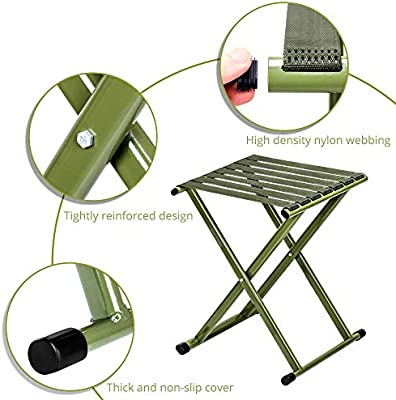 H TRIPLE TREE Portable Folding Stool Large x14.3 Inch Pack of One Super Strong Heavy Duty Outdoor Folding Chair Hold up to 650 lbs L Unfold Size 13.9 x17.8 W